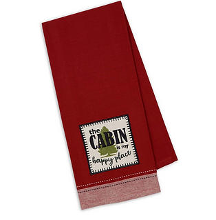 Cabin Happy Dishtowel