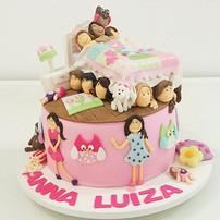 bolo decorado com pasta americana - festa do pijama - maria bolo
