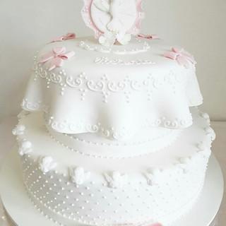 bolo batizado - decorado com pasta americana - maria bolo