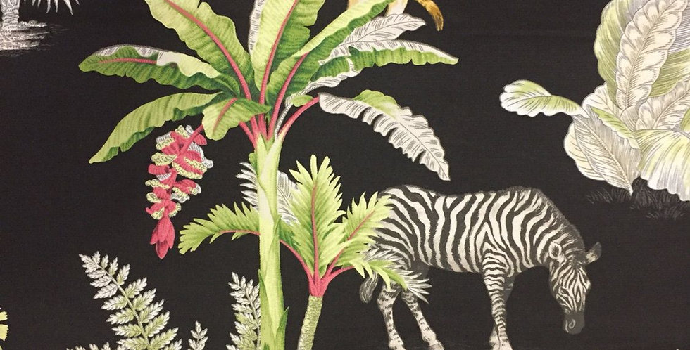 Congo Black - Zebra ,Elephant, Cheetah - Palm Trees