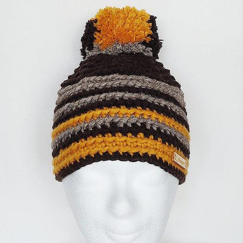 Mütze gehäkelt dunkelbraun/ braun/ ockergelb