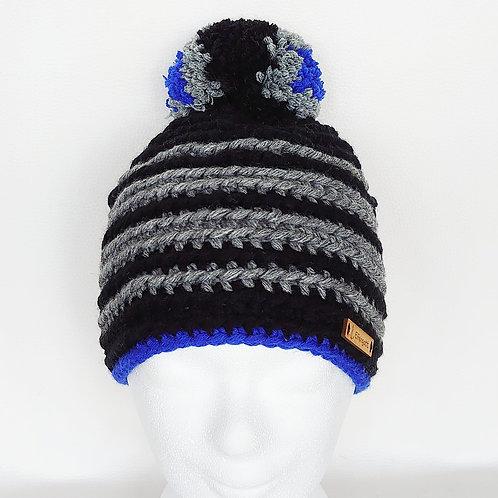 Mütze gehäkelt schwarz/ grau/ blau