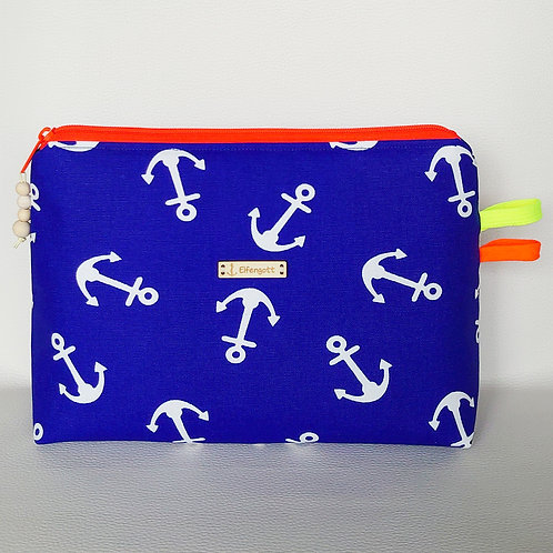 Kulturtasche blau + Anker / RV neonorange