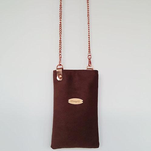 Handy-Täschchen Samt  braun / rosegold