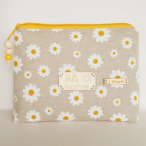 Kulturtasche beige mit Margeritten-Blüten