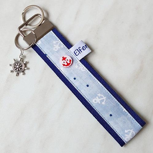 Schlüsselband dunkelblau  / hellblau + Anker