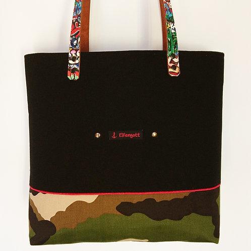 Shopper-Tasche schwarz  / camouflage / Graffiti