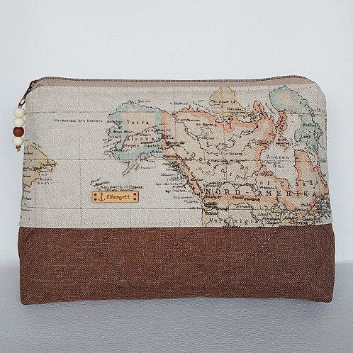 Kulturtasche groß  / Weltkarte braun