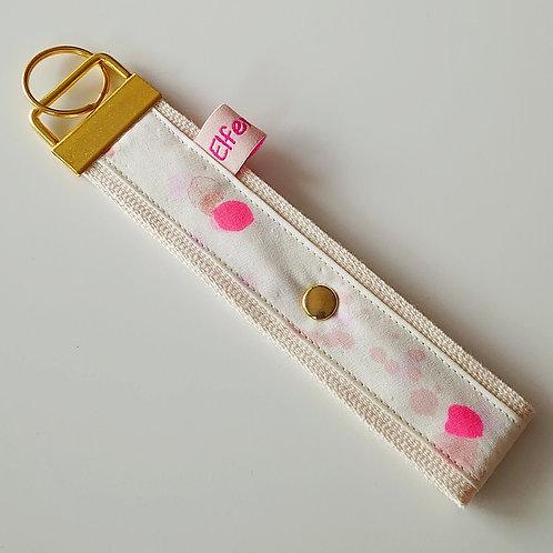 Schlüsselband creme + Tupfen pink  / gold