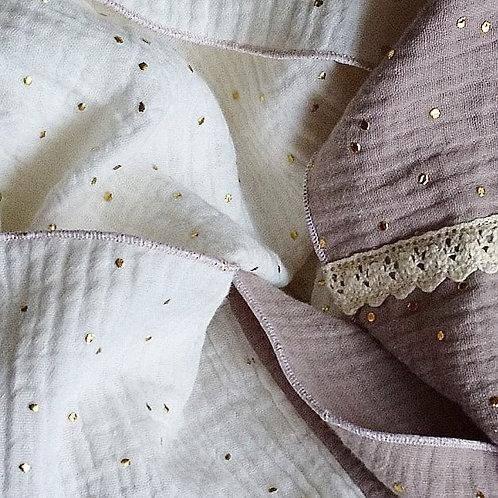 Loop aus Musselin creme  / ecru / gold