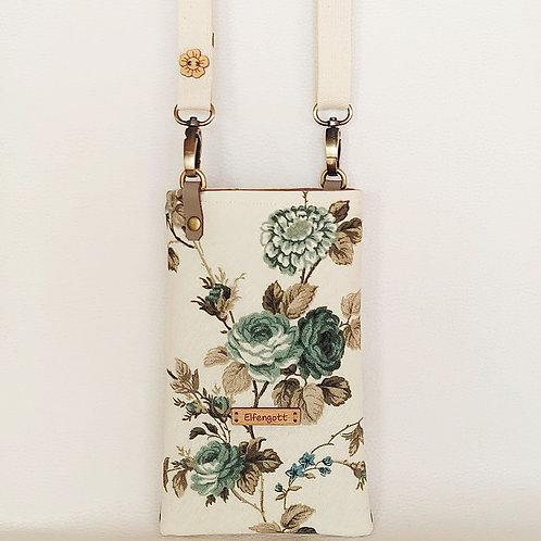 Handytasche Vintage Rosen mintgrün dunkel