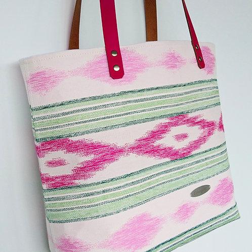 Strandtasche weiss  / pink