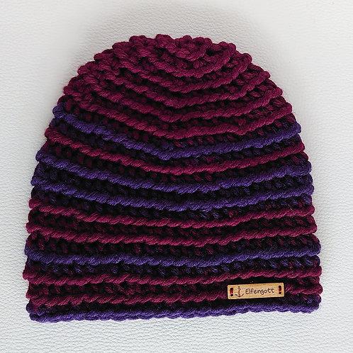 Mütze gehäkelt bordeaux  / aubergine