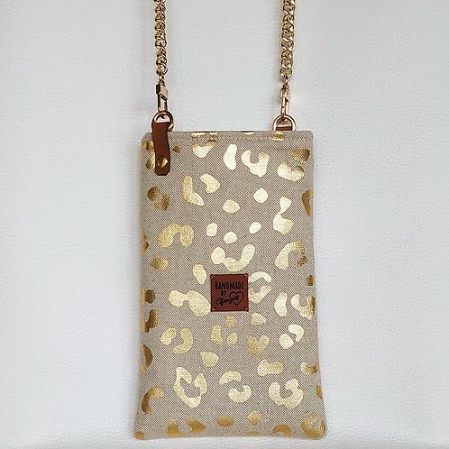 """Handytasche """"animalprint"""" beige  / gold"""