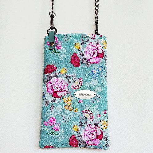 Handy-Täschchen mintgrün + Rosenblüten