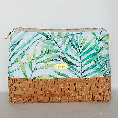 Kulturtasche groß  Blätter grün  / Kork