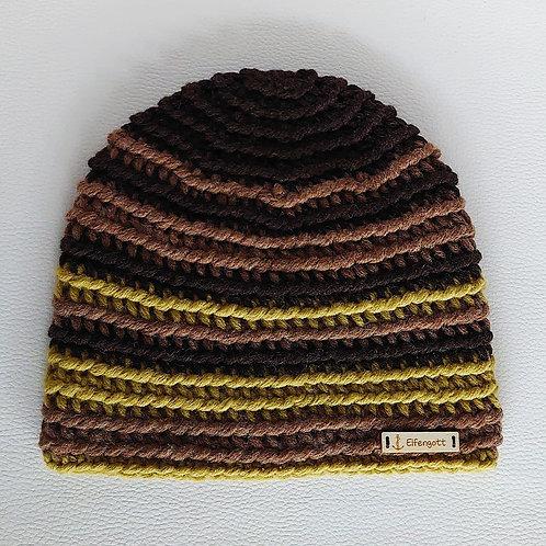 Mütze gehäkelt dunkelbraun/ braun/ olivgrün