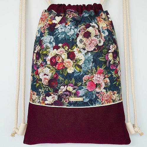 Beutel Vintage Blüten  / bordeaux