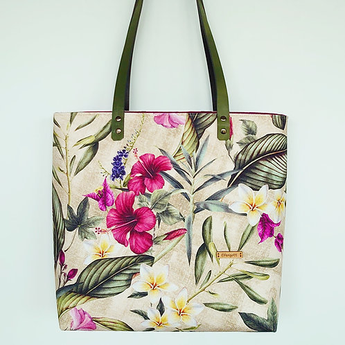 "Shopper-Tasche ""tropical""  / beige  / khaki"