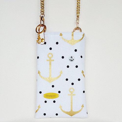 Handytasche maritim  / weiss +Anker gold