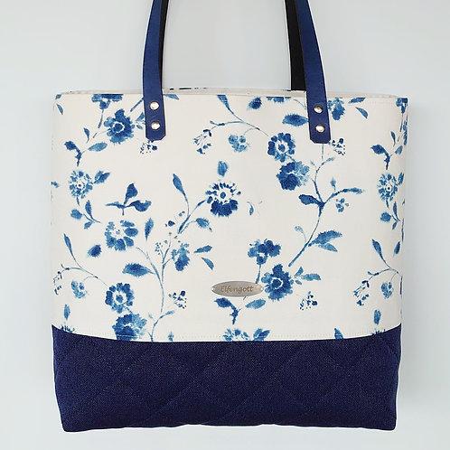Shopper-Tasche Blumen blau