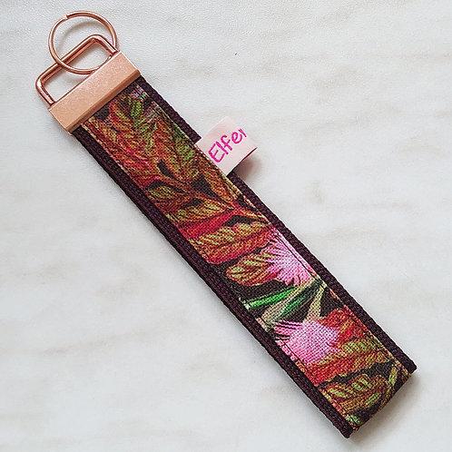 Schlüsselband dunkelbraun/ Blätter + Blüten