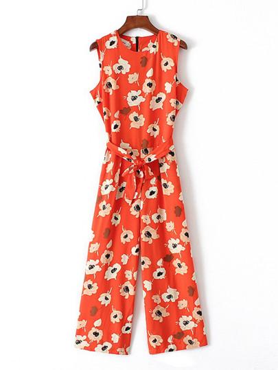Flower waist jumpsuit