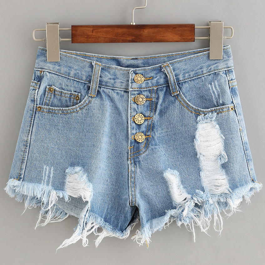Ripped blue jeans short