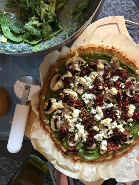 Vegetable pizza crust & spinach pesto