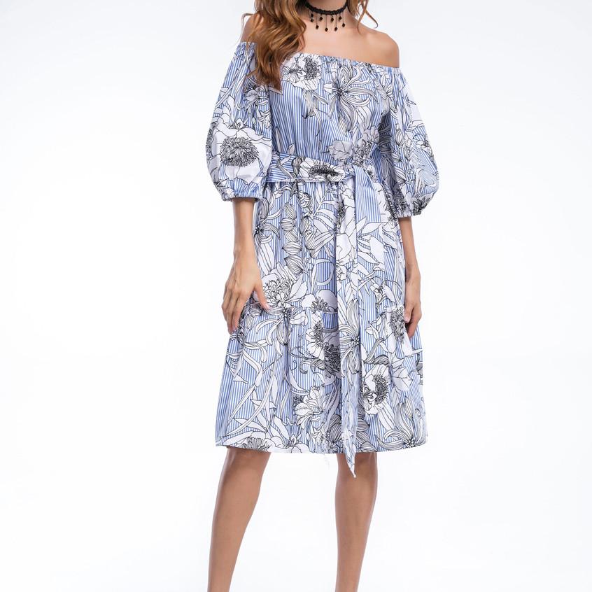 Light blue printed dress