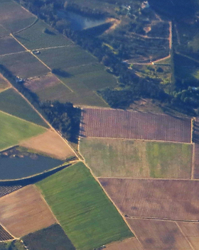 vision aérienne de parcelles agricoles