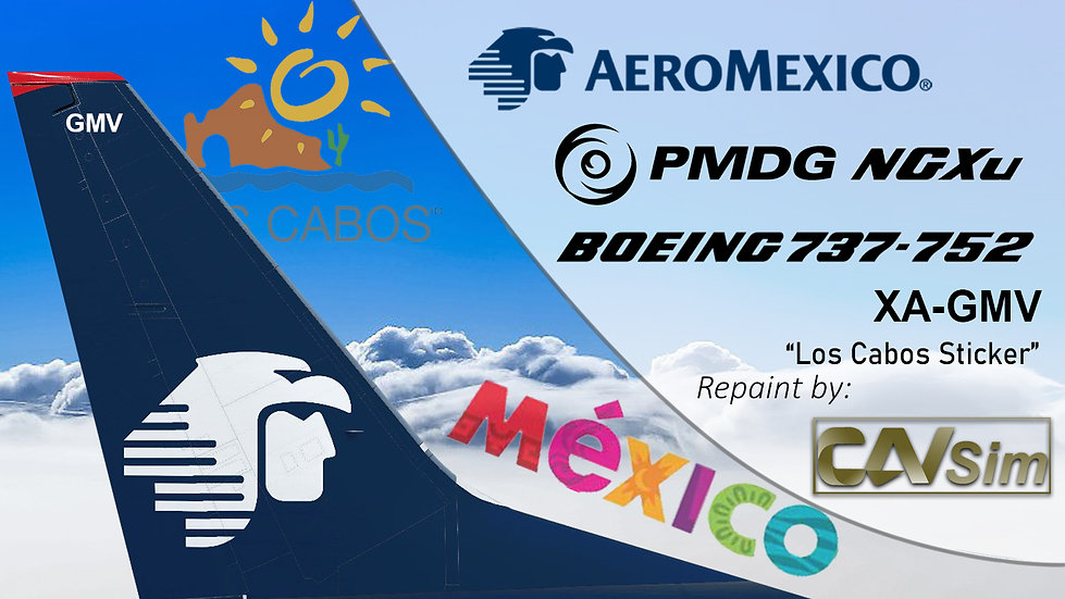B737-752(BW) AeroMexico Los Cabos Sticker 'XA-GMV'