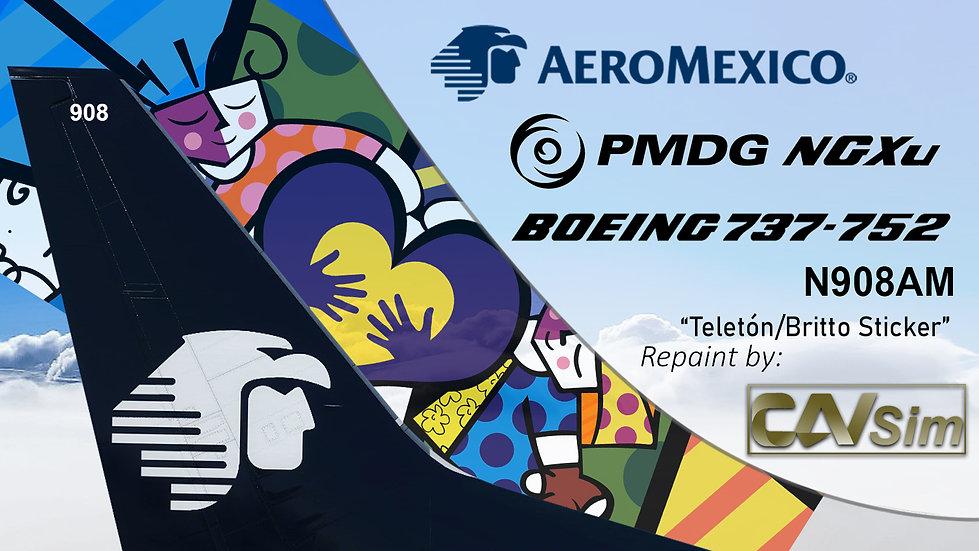B737-752(BW) AeroMexico Teleton/Britto 2010 Sticker 'N908AM'