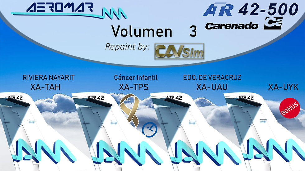 Pack No. 36 ATR42-500 Aeromar Standard Liveries Vol. 3