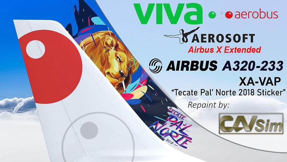 A320-232SL(SK) VivaAerobus 'Tecate Pal Norte 2018' 'XA-VAP'