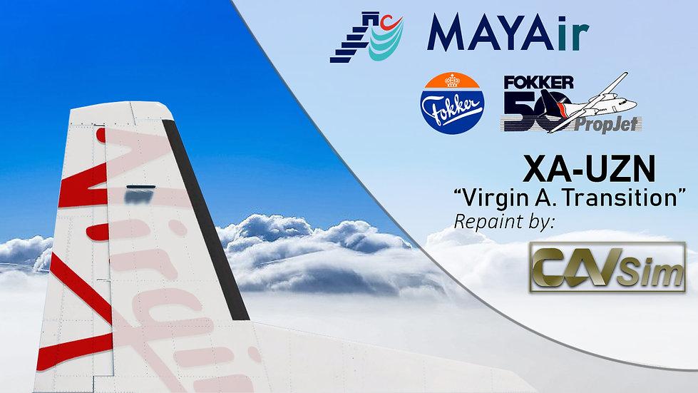 Fokker 50 MAYAir 'Livery Transition-Virgin Australia' 'XA-UZN'