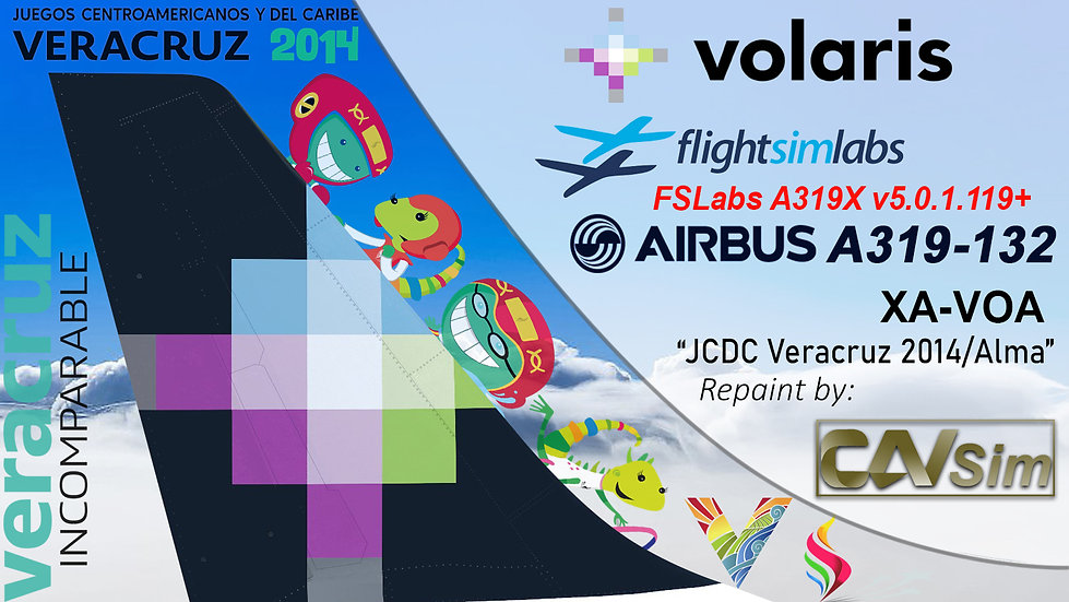 A319-133 (WT) Volaris 'JCDC 2014 Veracruz 2014 - Alma' 'XA-VOA'