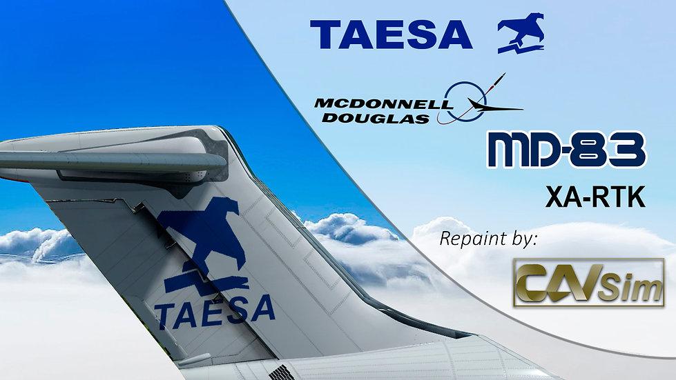MDD MD-83 TAESA 'White Livery' Flat Tail 'XA-RTK'