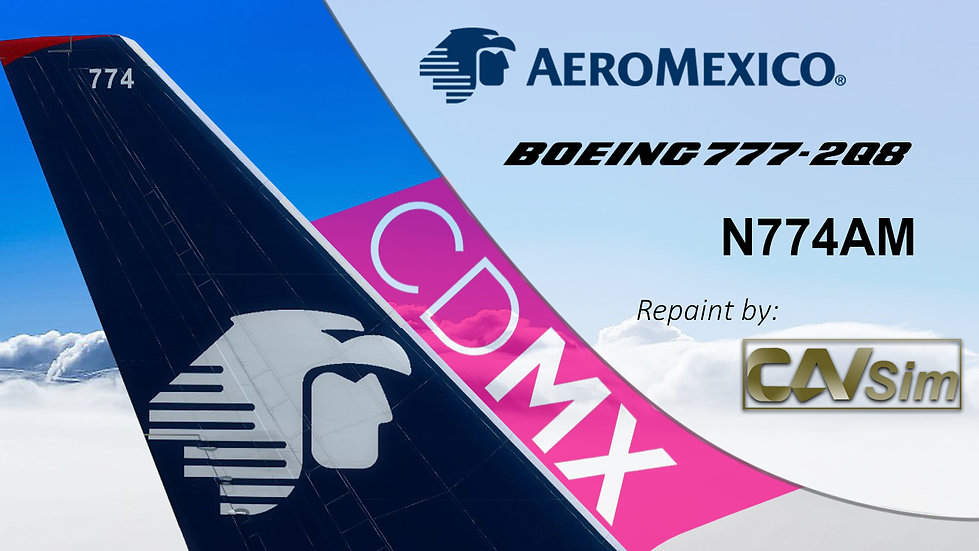 Boeing 777-2Q8ER Aeromexico 'White Livery' 'Sticker ROSA-CDMX' 'N774AM'