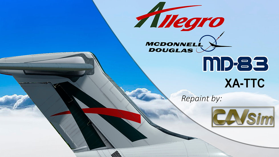 MDD MD-83 Allegro Airlines 'White Livery' Flat Tail 'XA-TTC'