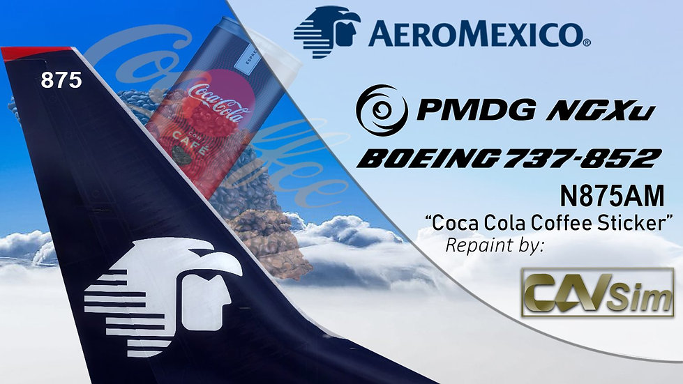 B737-852(SSW) AeroMexico 'Coca-Cola Coffee Sticker' 'N875AM'