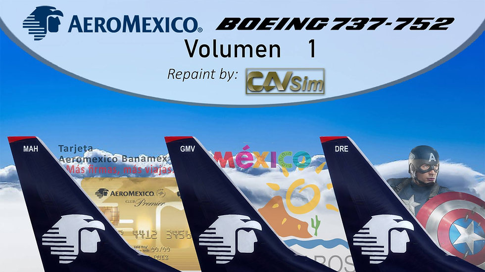 Pack Boeing No. 5  Aeromexico B737-700(WL) 'White Liveries' Vol. 1
