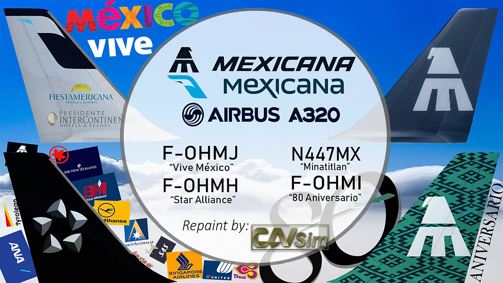 Pack No. 17 A320-231 Mexicana 'IAE Mexicana Special Liveries'