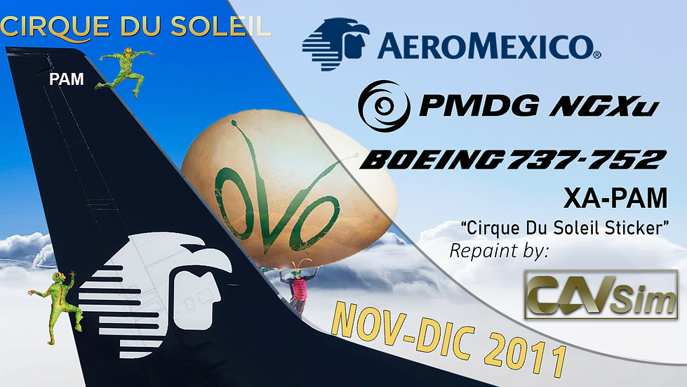 B737-752(BW) AeroMexico Cirque du Solei 2011 Sticker 'XA-PAM'