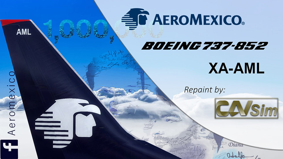 Boeing 737-852(WL) Aeromexico 'Sticker 1,000,000 Fans FB' 'XA-AML'
