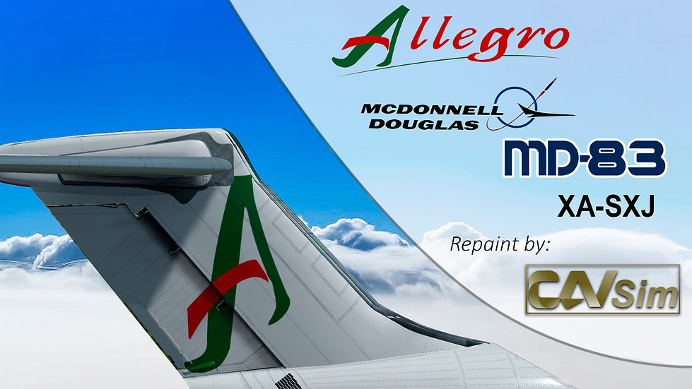 MDD MD-83 Allegro Airlines 'White Livery First Logo' Flat Tail 'XA-SXJ'