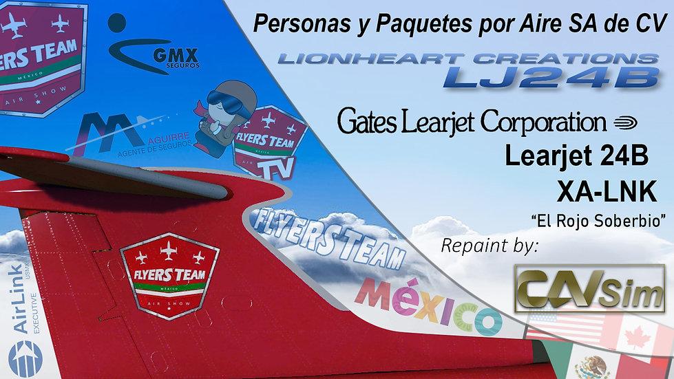 Gates Learjet 24B Personas y Paquetes por Aire SA de CV 'Rojo Soberbio' 'XA-LNK'