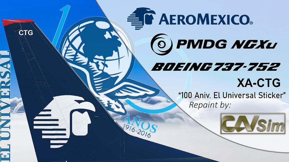 B737-752(BW) AeroMexico El Universal 100 años Sticker 'XA-CTG'