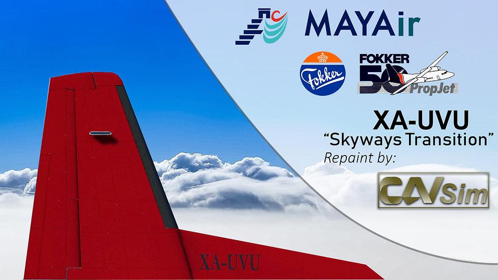 Fokker 50 MAYAir 'Livery Transition-Skyways Airlines' 'XA-UVU'