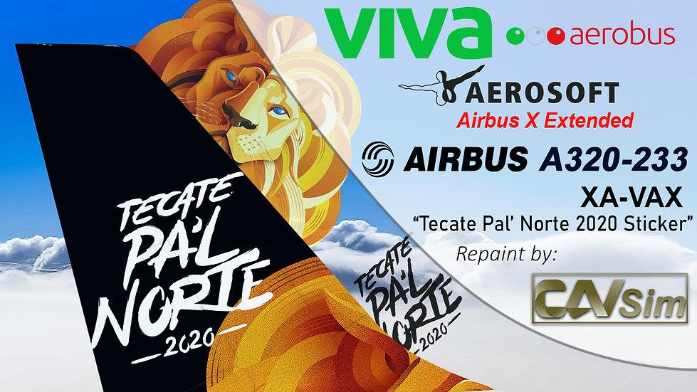 A320-232SL(SK) VivaAerobus 'Tecate Pal Norte 2020' 'XA-VAX'